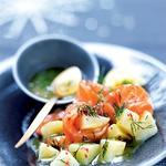 Prekajeni losos s krompirjem v omaki gravlax (foto: Fotografija Jean-Claude Amiel)