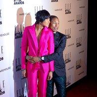Pharrell Williams (v obleki Lanvin) z ženo Helen (foto: Profimedia)
