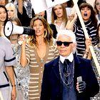 Karl Lagerfeld je poučeval na dunajski šoli za modo, v ozadju Gisele Bundchen.  (foto: profimedia)