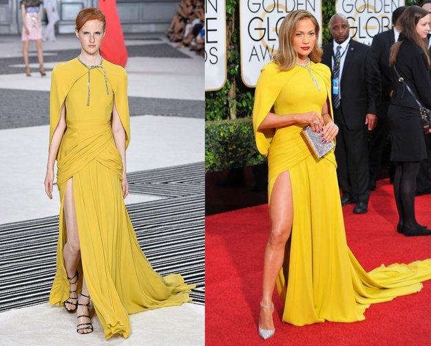 Giambattista Valli Haute Couture Jesen Zima 2015 v Parizu in Jennifer Lopez na podelitvi 73. Zlatih globusov 2015.