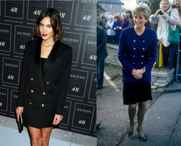 Alexa Chung v Balmain obleki in princesa Diana leta 1990 v modrem suknjiču in črnem krilu. Alexa Chung je krilo ...
