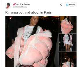 "Rihanna oblekla svoj ""bejbi roza"" puhast plašč"