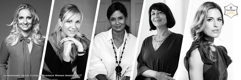 Znanih je 5 nominirank za mednarodno priznano poslovno nagrado prestižne znamke Veuve Clicquot
