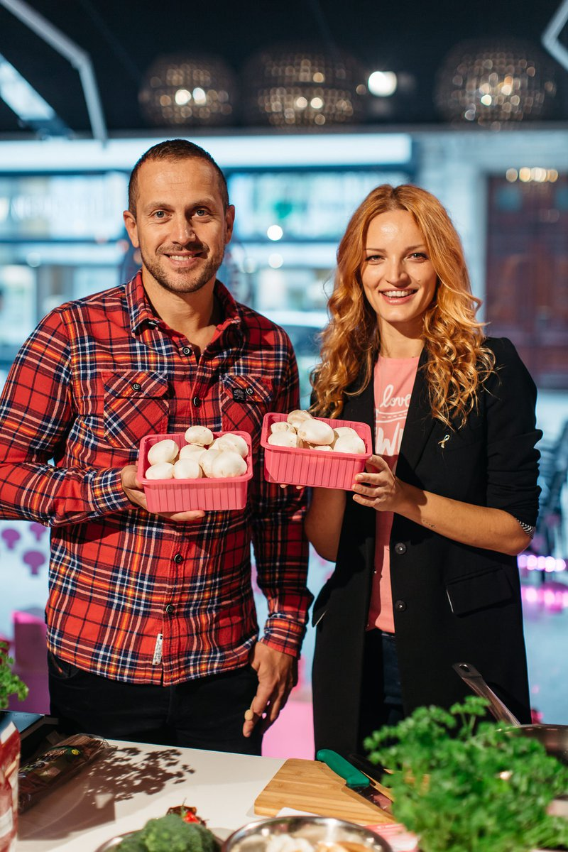 S šampinjoni v roza embalaži proti raku dojk